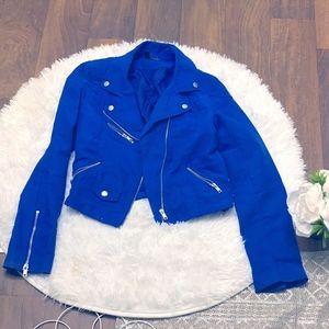 H&M BLUE MOTO ZIPPER TAILORED JACKET